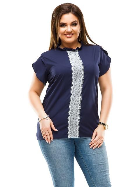 Блуза темно-синяя ELFBERG plus size 4614107