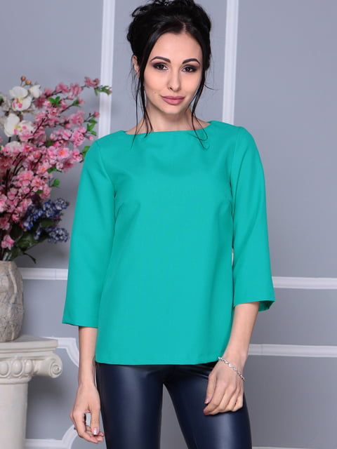 Блуза темно-ментолового цвета Laura Bettini 4619153