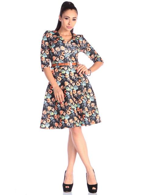 Сукня чорна в квітковий принт Laura Bettini 4619299