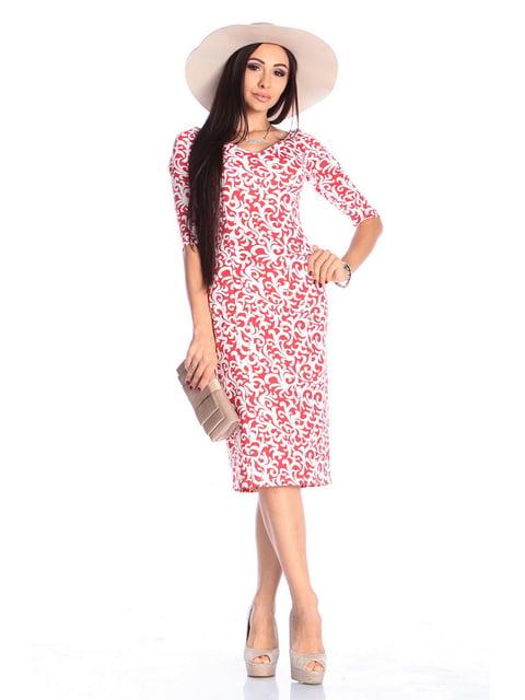 Платье красное в принт Laura Bettini 4619350