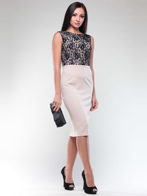 Платье бежево-черное Maurini 4619914