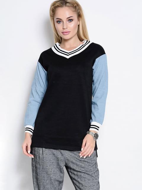Пуловер чорно-блакитний Magnet 4581127