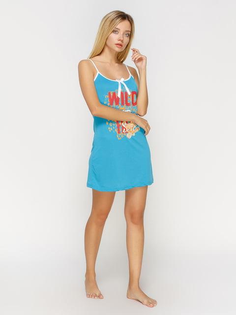Сорочка нічна блакитна з принтом Intimo 4611193
