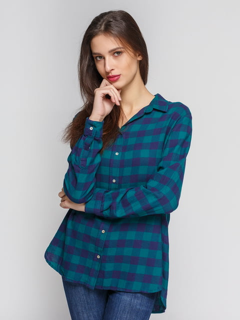 Рубашка зелено-синяя в клетку H&M 4600308