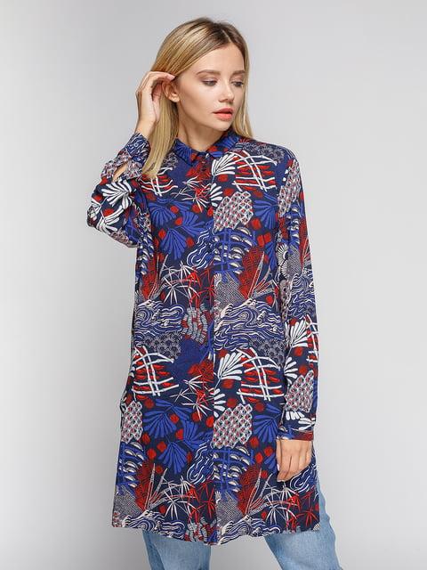 Блуза темно-синяя в принт H&M 4602907
