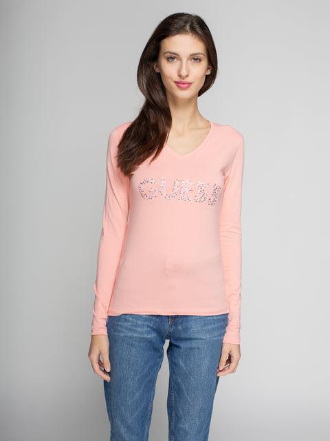 Лонгслів рожевий з фірмовим декорованим написом Guess 4622569