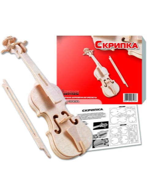 Збірна модель з дерева, 3D пазл «Скрипка» Игрушки из дерева 4635100