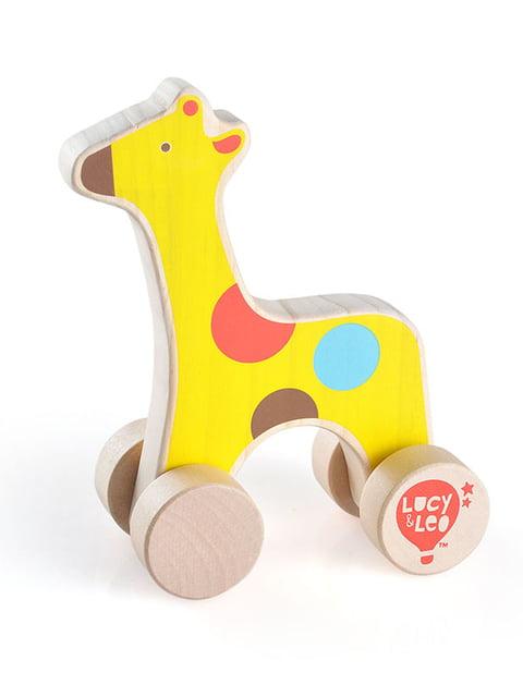 Розвивальна іграшка з дерева каталка «Жираф» Lucy&leo 4635197