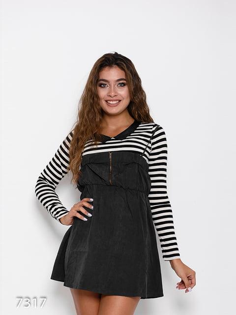 Сукня чорна зі смужками Magnet 4641263