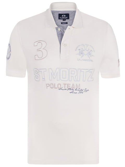 Футболка-поло біла La Martina 4654118