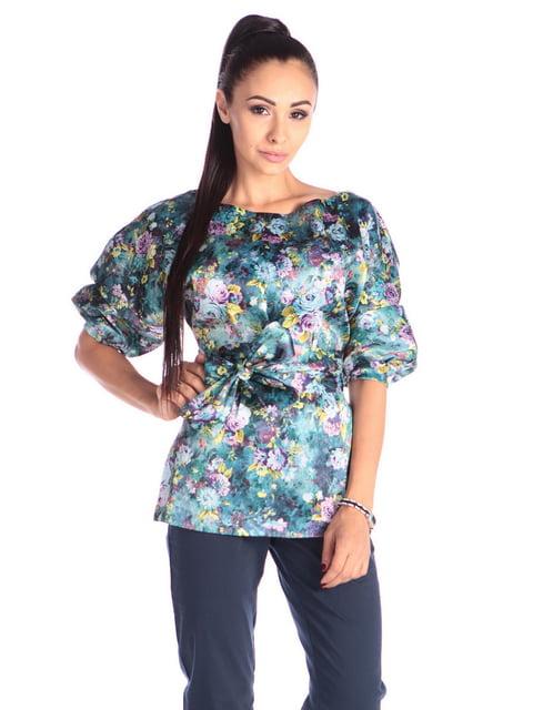 Блуза в принт з поясом Laura Bettini 4636926