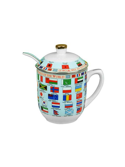 Чашка заварювальна з ложкою «Прапори» (300 мл) LEFARD 4663214