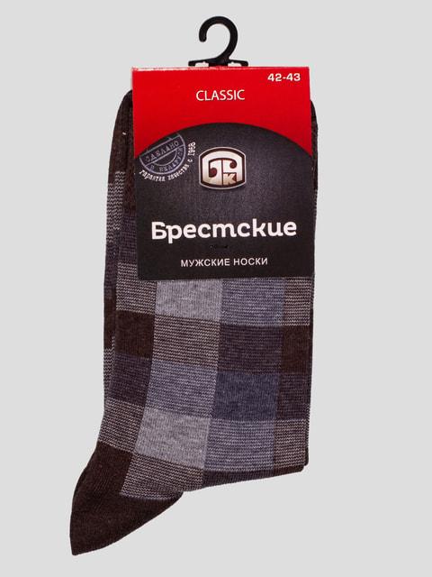 Шкарпетки темно-коричневі в клітинку БЧК 4663460