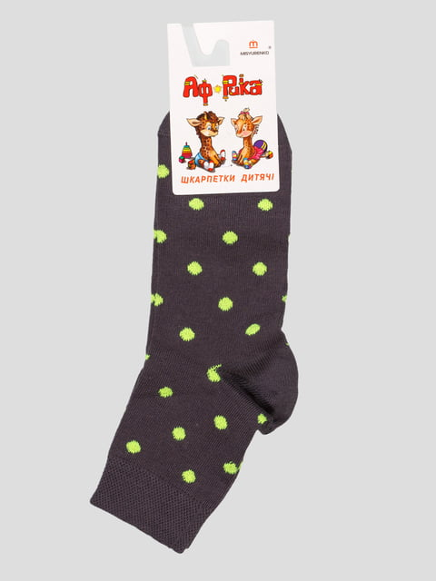 Шкарпетки графітового кольору в горошок Misyurenko 4636057