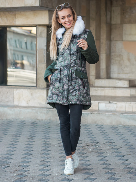 Куртка кольору хакі Stella plus 4683458