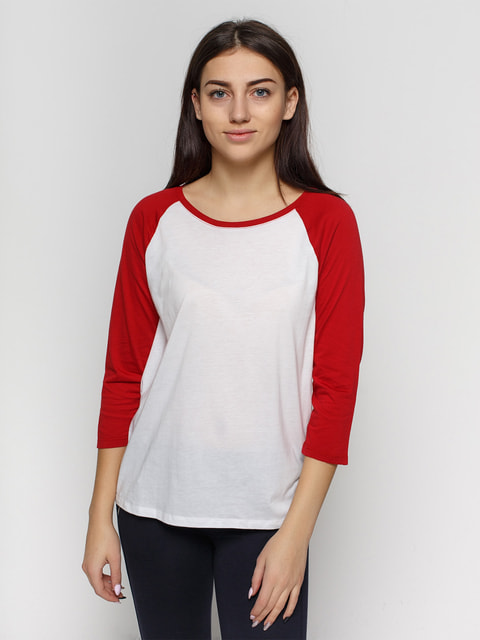 Реглан біло-червоний Bershka 3223087