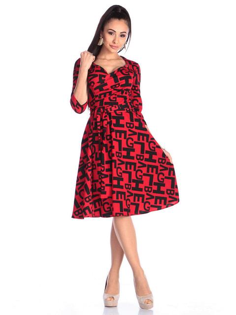 Платье красное в принт Laura Bettini 4712467