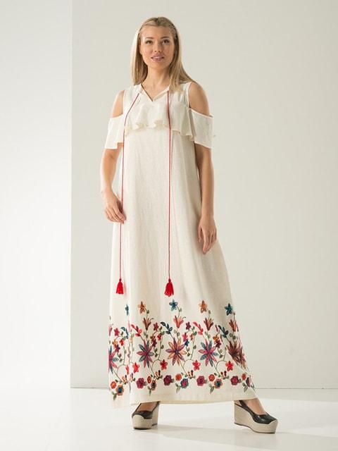 Сукня молочного кольору в принт Lesya 4100559