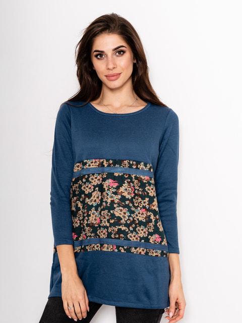 Туніка синя з квітковим принтом Magnet 4693168