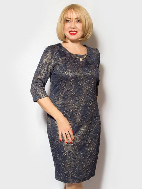 Платье темно-синее в принт LibeAmore 4718006