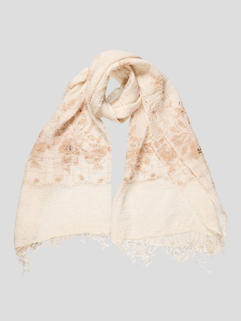 Палантин молочного цвета с декорированным цветочным принтом Venera 4708509