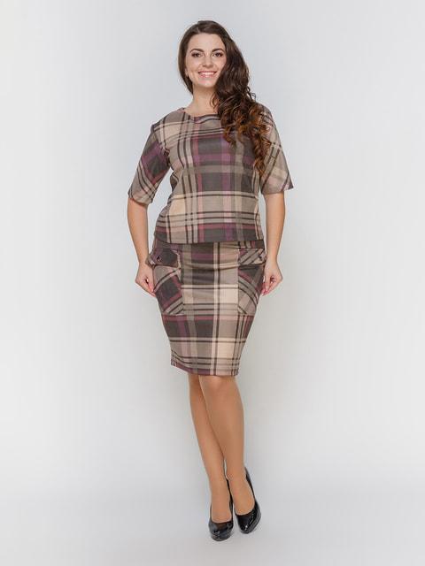 Костюм коричневий в клітинку: блуза і спідниця Marc Vero Maxxi 4695821