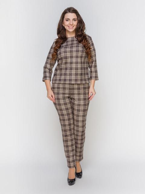 Костюм коричневий в клітинку: блуза і штани Marc Vero Maxxi 4695829