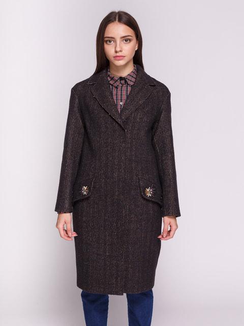 Пальто сине-коричневое Dolcedonna 4714962