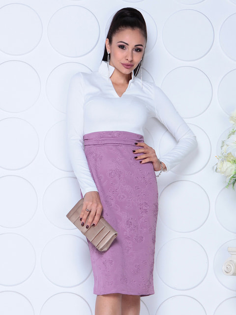 Платье бело-сиреневого цвета Maurini 4729976
