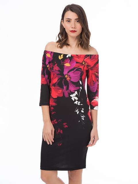 Сукня чорна з квітковим принтом MONARCHIE 4668959