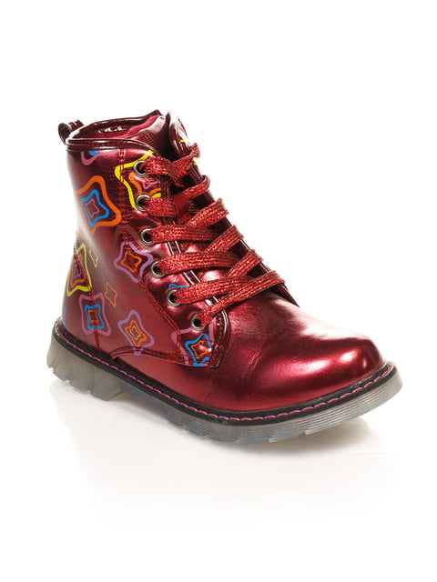 Ботинки бордовые с принтом Шалунишка 4708076