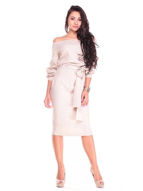 Платье бежевого цвета Rebecca Tatti 4767599