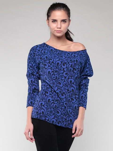 Світшот синього кольору в принт Laura Bettini 4619181