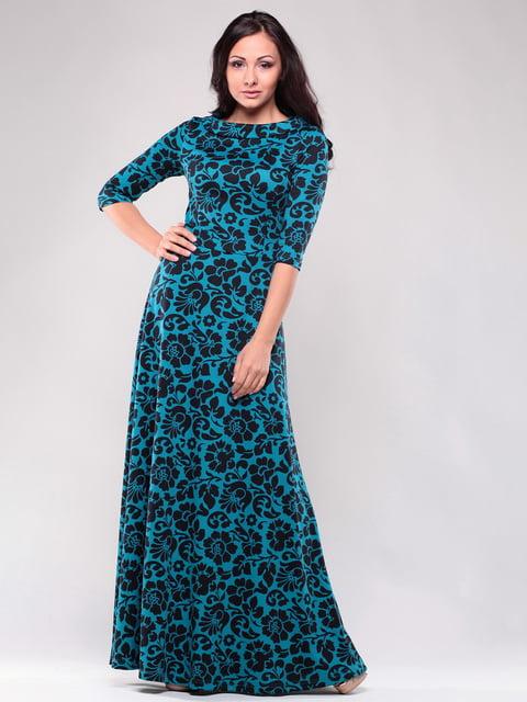 Сукня бірюзова в квітковий принт Laura Bettini 4619047