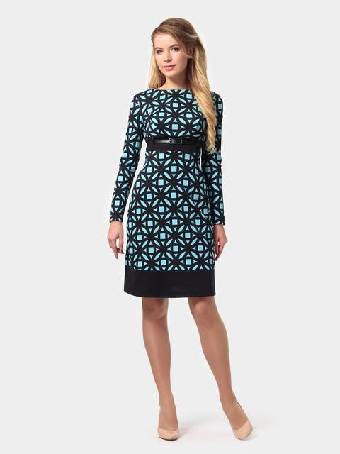 Платье сине-голубое в принт LILA KASS 4794776