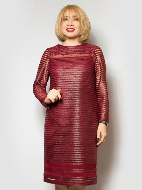 Сукня бордова в смужку LibeAmore 4808000