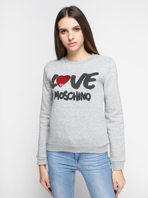 Світшот сірий з принтом Love Moschino 4808100