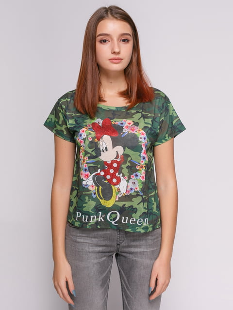 Футболка камуфляжной расцветки с изображением Минни Маус Punk Queen 377996
