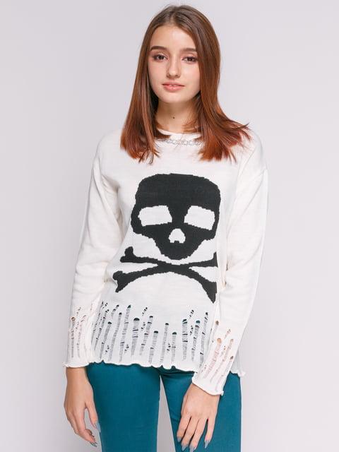 Джемпер молочного кольору з декором і принтом-черепом Punk Queen 625039