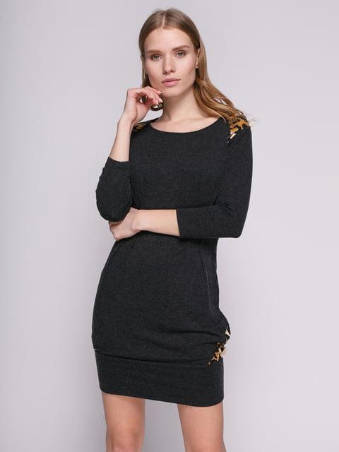 Платье черное со складками и вставками анималистической расцветки Punk Queen 330792