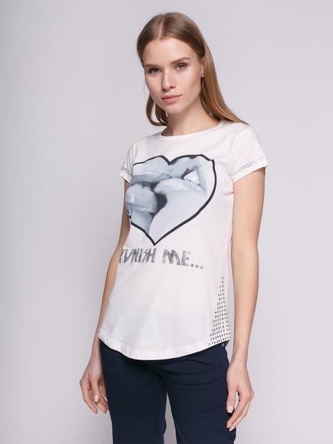 Футболка белая с принтом-сердцем декорированная Punk Queen 514351
