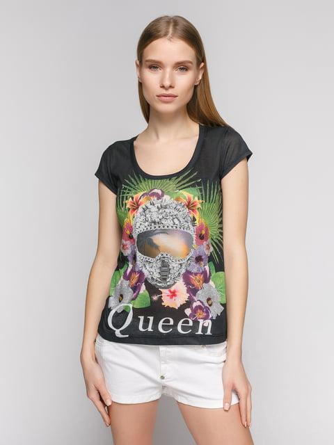 Футболка черная с ярким принтом Punk Queen 377927