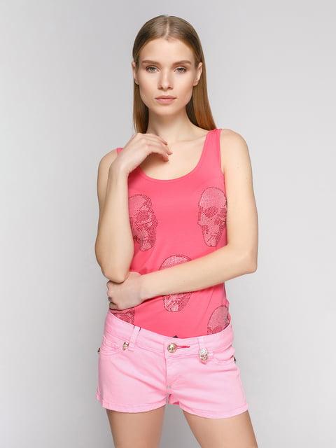 Майка розовая в принт-черепа Punk Queen 402737