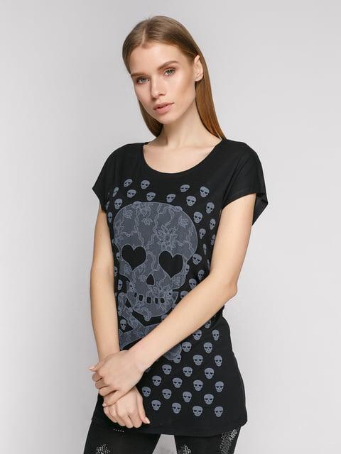 Футболка черная с принтом-черепами Punk Queen 377973