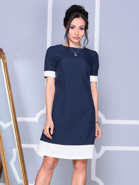 Платье сине-молочного цвета Rebecca Tatti 4807834