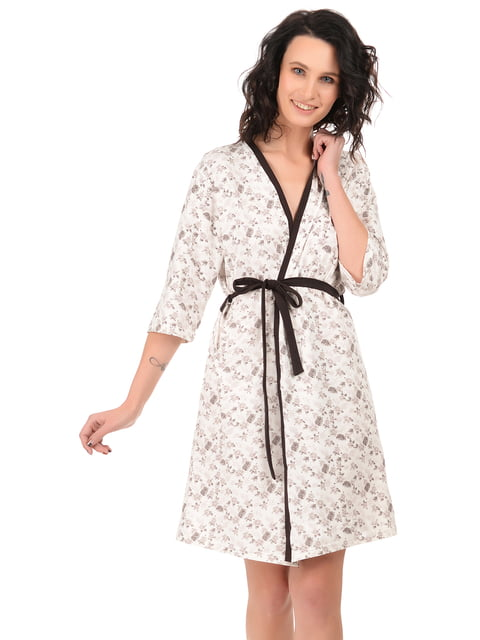 Халат молочный в принт BARWA garments 4824042