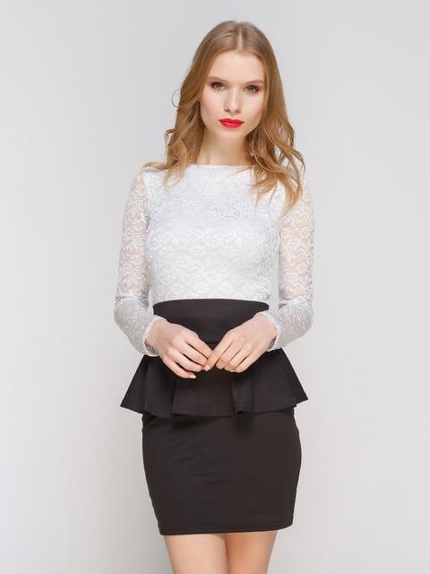 Сукня чорна-біла з баскою CELEBRITY 2003657