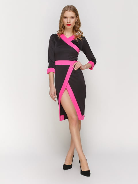 Сукня чорна з окантовкою кольору фуксії CELEBRITY 2056261