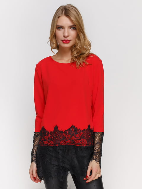 Блуза червона з мереживом CELEBRITY 2877949