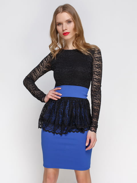 Сукня синьо-чорна з баскою CELEBRITY 2003585